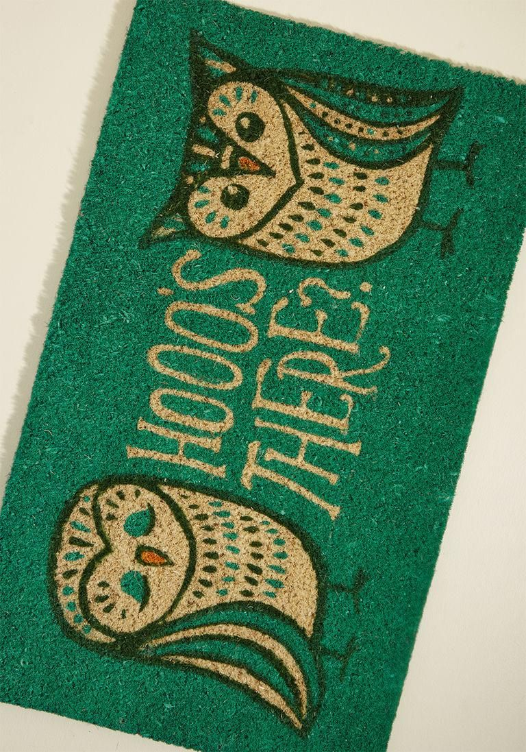 Modcloth modcloth homecoming hootenanny doormat adorewe ensure all guests enter your home with a wide smile and bright spirit by leaving this green doormat outside for them to encounter first the punny pattern kristyandbryce Images