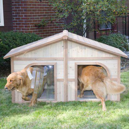 Boomer Amp George Duplex Dog House With Options Amp Free Doors Dog Houses At Hayneedle Dog House Plans Wood Dog House Double Dog House