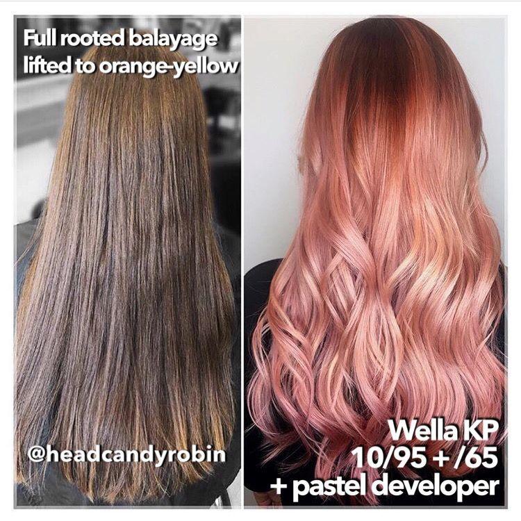 Wella Kp 10 95 65 Rose Gold Hair Color Formula In 2020 In 2020 Hair Color Rose Gold Hair Color Formulas Rose Gold Hair Color Formula