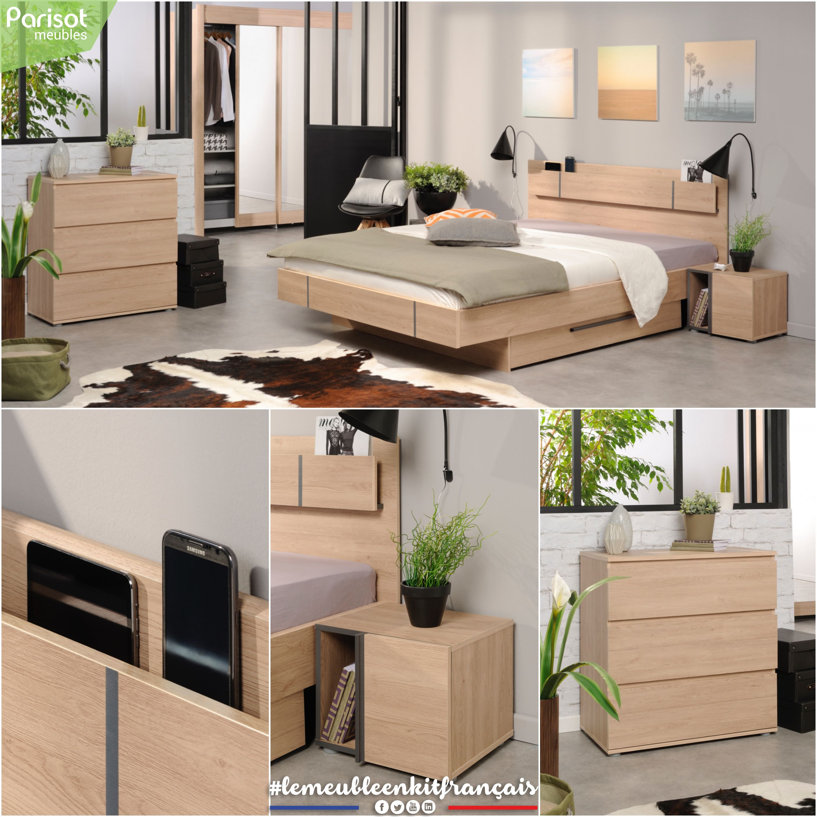 Romy By Parisot Meubles Romy Is A Functional Bedroom Designed To Facilitate The Use Of Multimedia Devices Pratical The Bed And Bedroom Design Furniture Bed