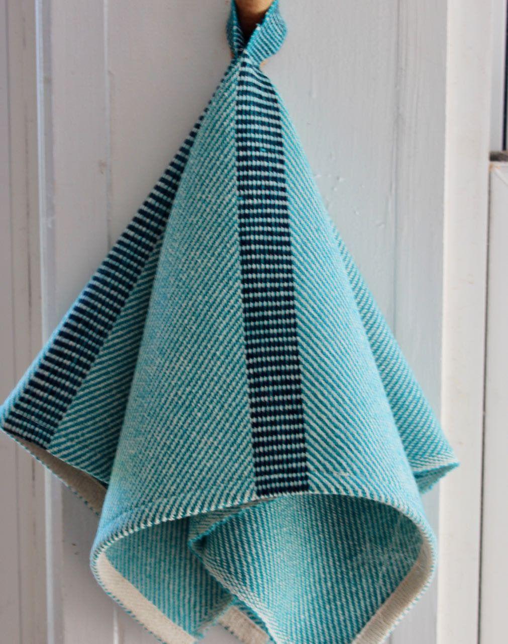 Dishtowel White Turquoise Hanging Kitchen Towel Handwoven Hand Dish ...