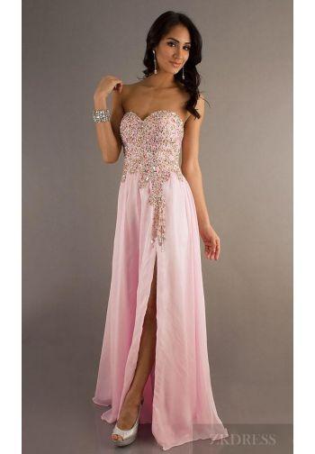 Fashion Pink Chiffon Natural Sleeveless Long Prom Dress In Stock ...