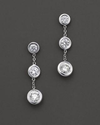 Roberto Coin 18 Kt White Gold Bezel Set Diamond Drop Earrings