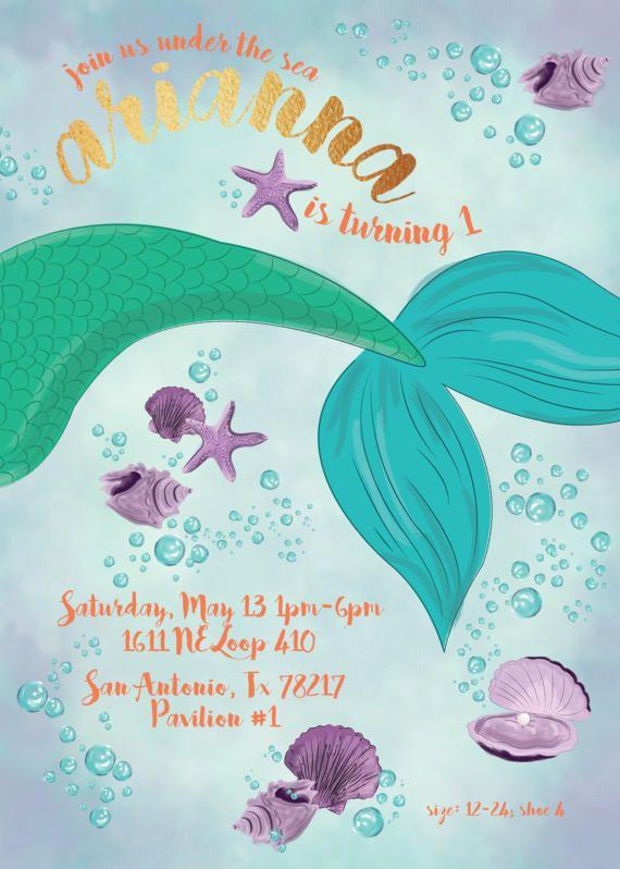 Poca Invitación De La Sirena Cumpleaños De Sirena Fiestas