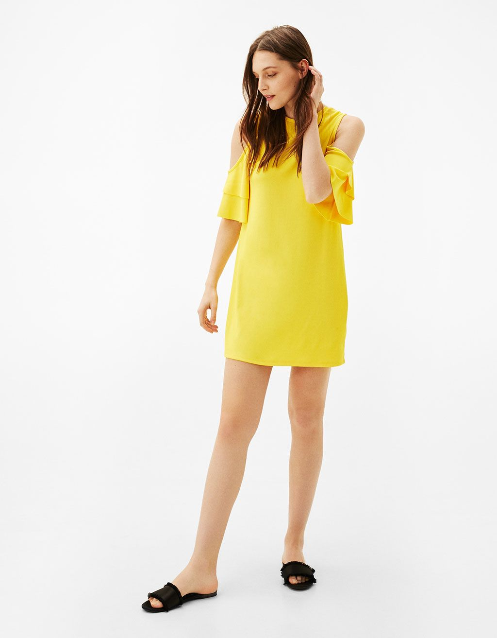 Double layer dress with ruffled sleeves and cut out shoulders - Dresses -  Bershka United Kingdom