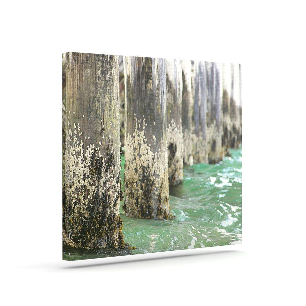 """Debbra Obertanec """"Saltwater Pylons"""" Wooden Outdoor Canvas Art"""
