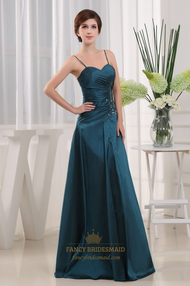 Dark teal green bridesmaid dresses a line taffeta bridesmaid