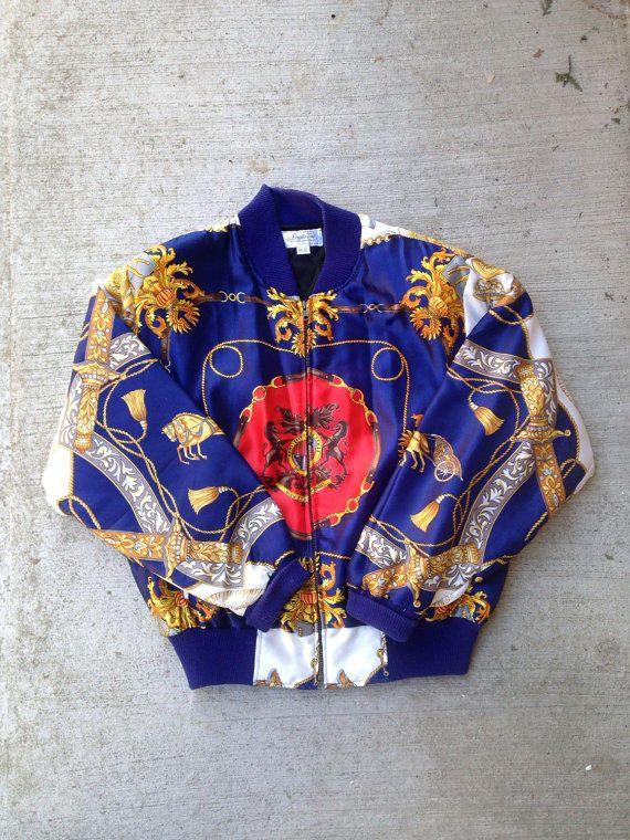 Vintage Baroque Silk Bomber Jacket S Hermes Versace Print Style 90 39 S 80 39 S White Blue Angela Toro Silk Bomber Jacket Versace Jacket Vintage Jacket