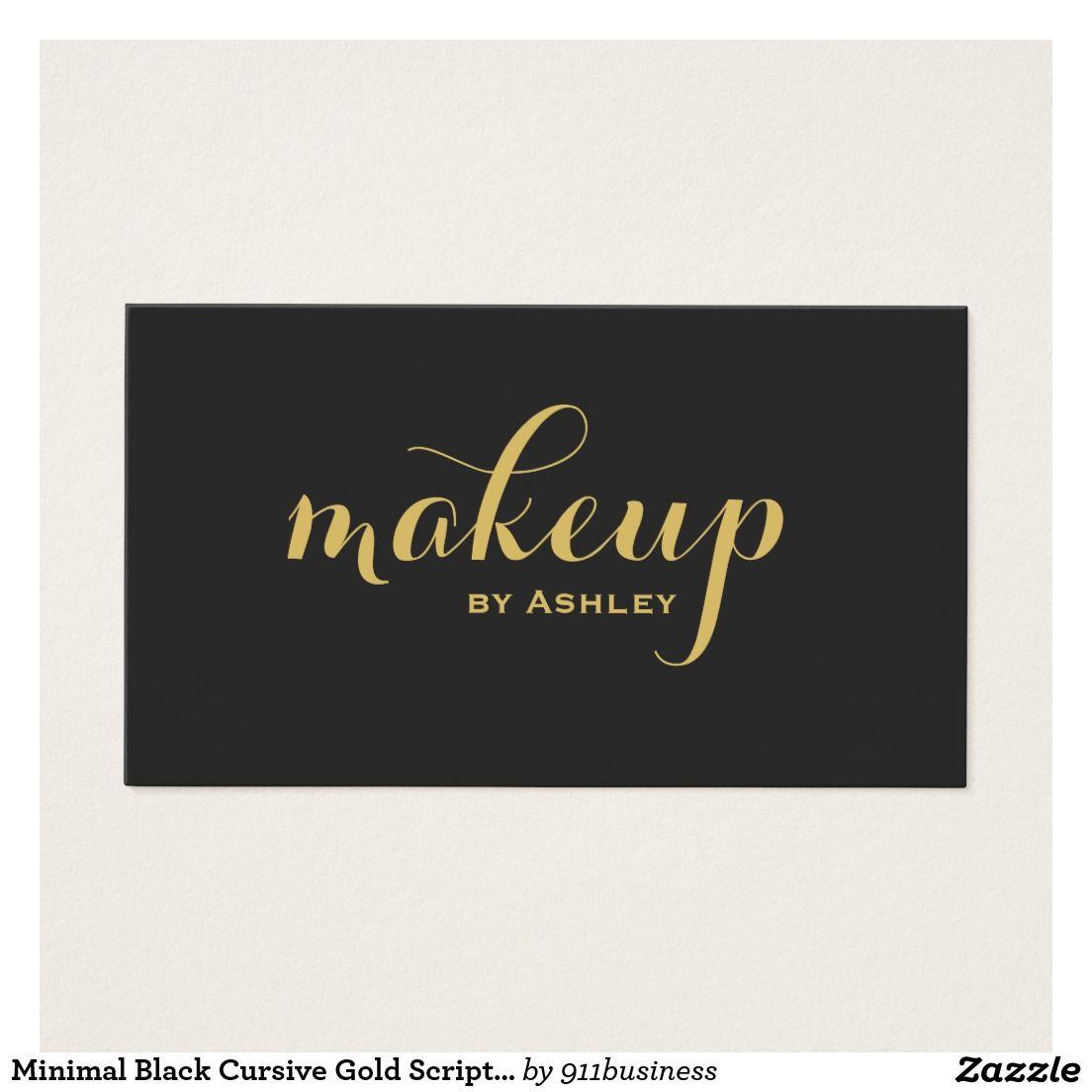 Makeup artist modern minimal black cursive gold script business card makeup artist modern minimal black cursive gold script business card design no only for makeup reheart Choice Image