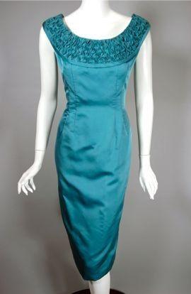 3d314956e2e 1950s dress cocktail party aqua silk 50s wiggle dress by Jobere Vintage  Fashion 1950s