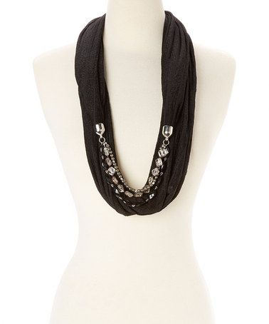Look what I found on #zulily! Black Slinky Stripe Embellished Infinity Scarf #zulilyfinds