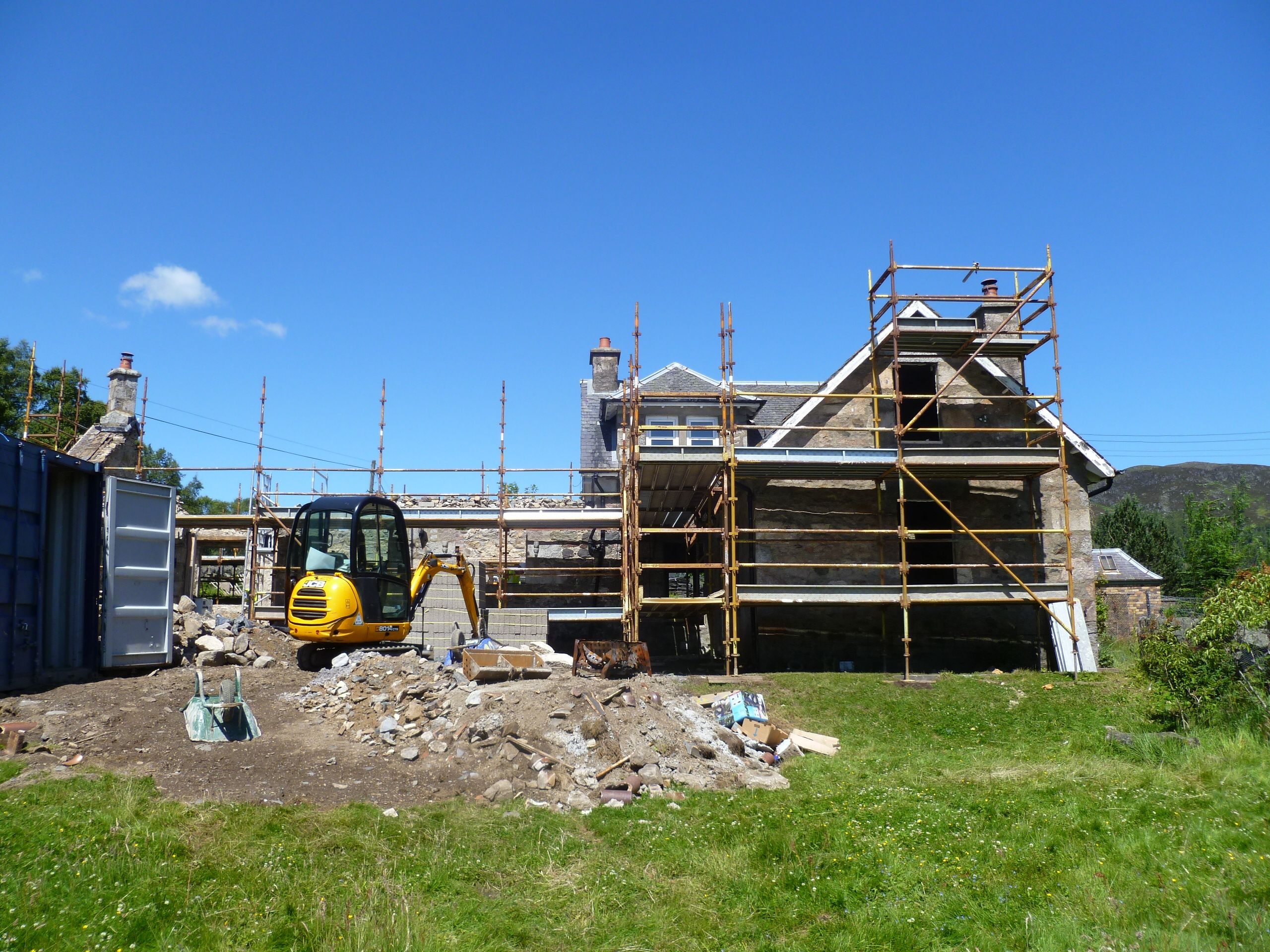 Demolition at #Glenshee School House continues under gorgeous blue skies - http://www.agb-developments.co.uk/contract_renovations_glenshee-school-house.html