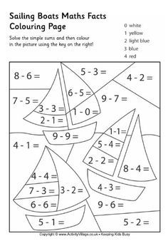 Color-by-number 1st Grade Worksheet Sailing boats maths