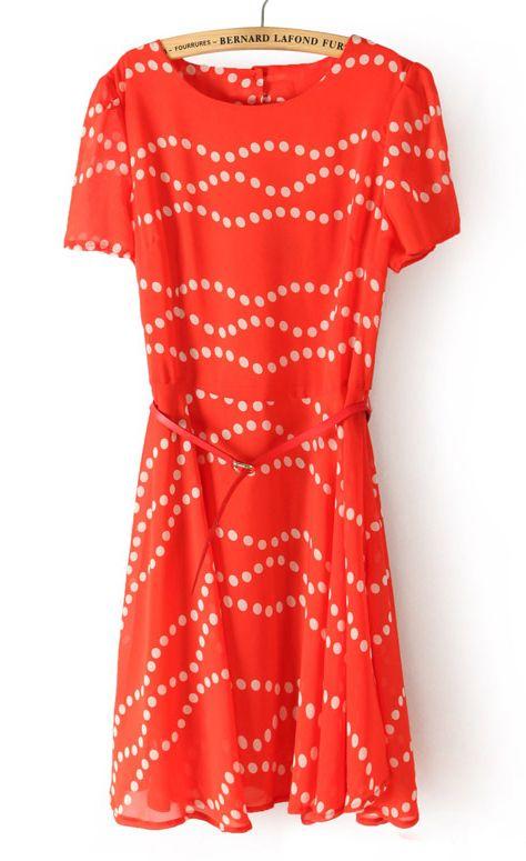Red Short Sleeve Polka Dot Backless Bandeau Dress