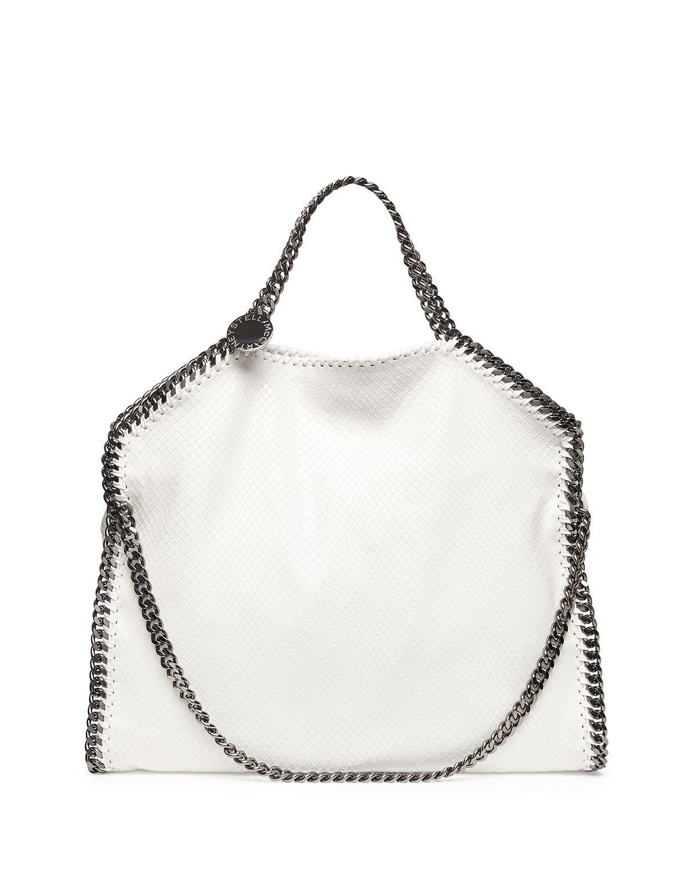 Falabella Faux Python Fold Over Tote Bag White | Stella