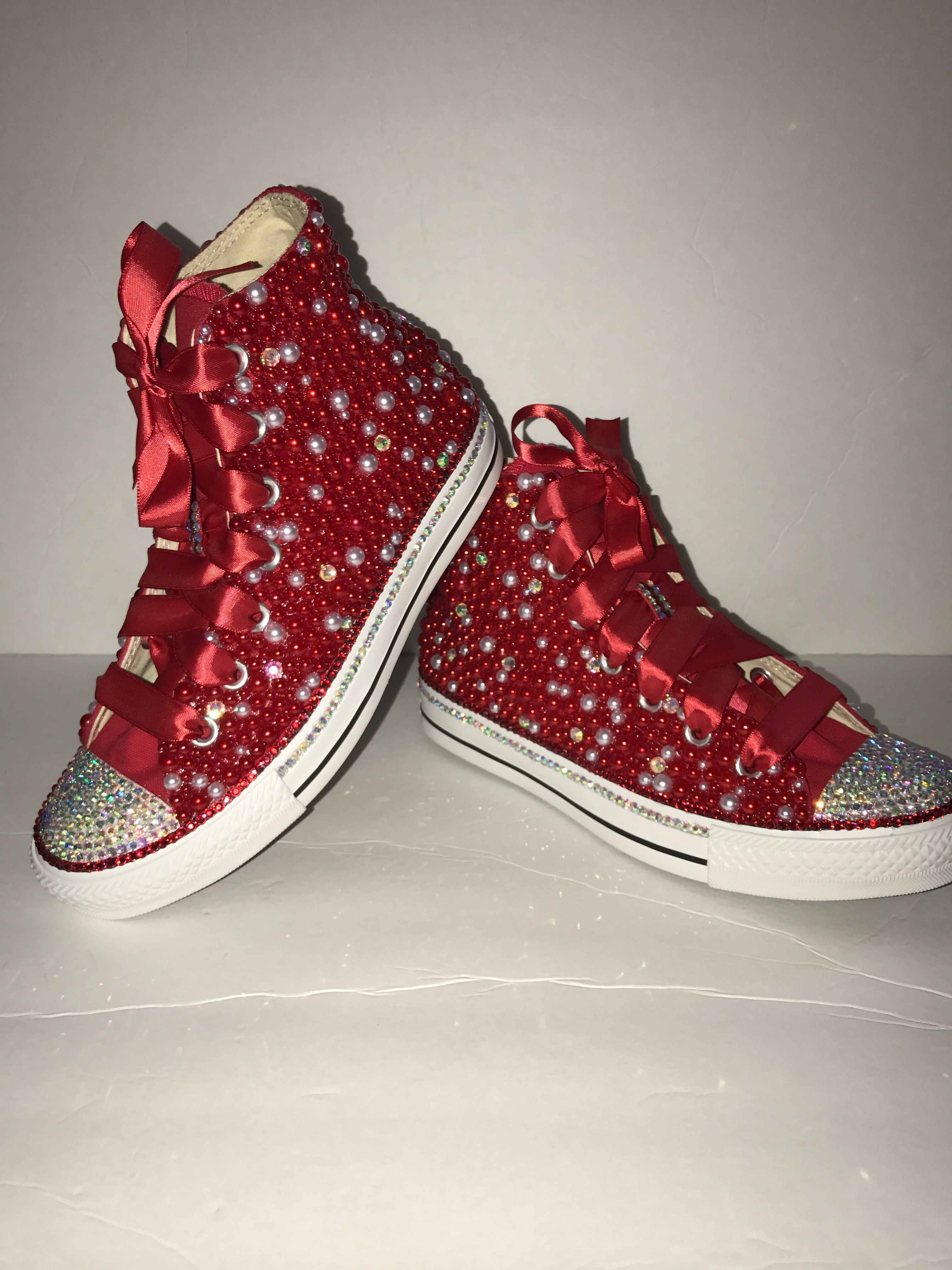 1379c7eaff8e  Custom bling converse all star chuck taylor sneakers embellished with high  quality rhinestones and pearls. Perfect for weddings shoes