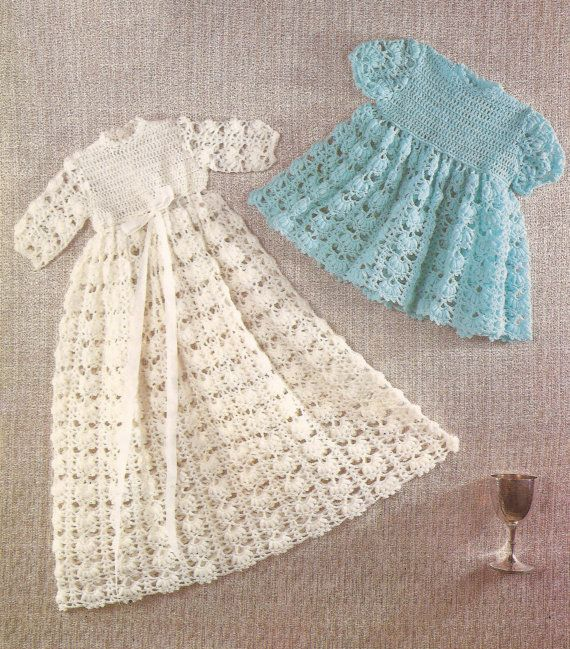 PDF Crochet Pattern Baby Dress and Christening Gown 16-20\