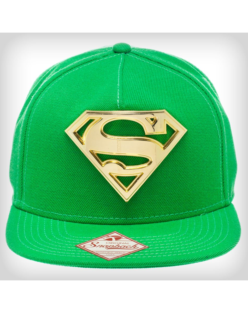 Superman Green with Gold Metal Snapback Hat  cacc6568b3c