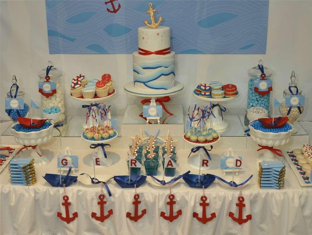 Ocean Swirl Nautical Dessert Table Baptism Party Ideas