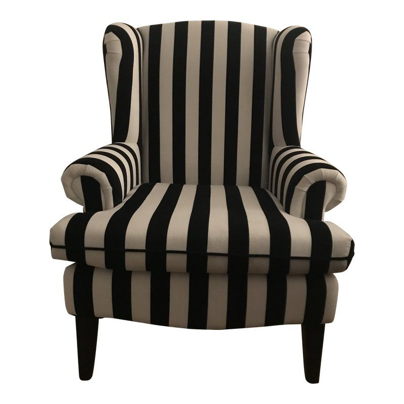 Best Black White Striped Wingback Chair Black And White 400 x 300