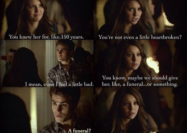 Katherine (in Elena's body) is upset that no one cares ...