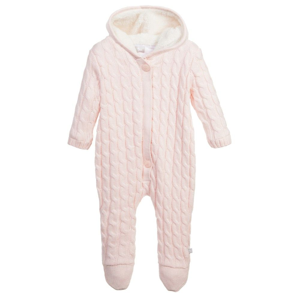 0c3e90b19652 Pink Cotton Cashmere Knitted Pramsuit