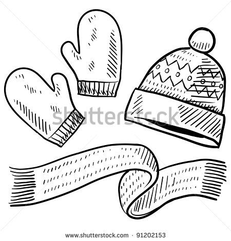 Doodle Style Winter Clothing Illustration In Vector Format