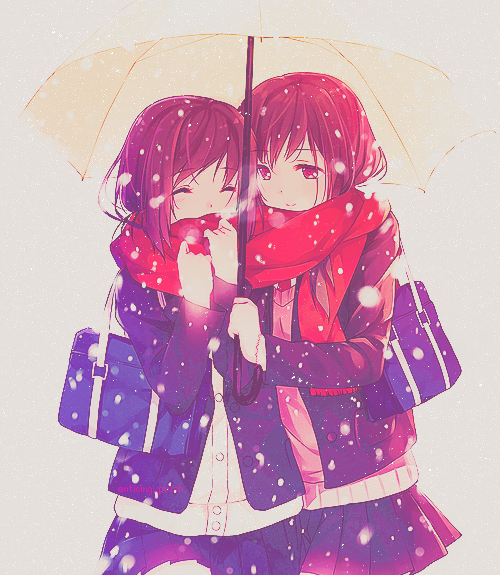 Anime friends under umbrella