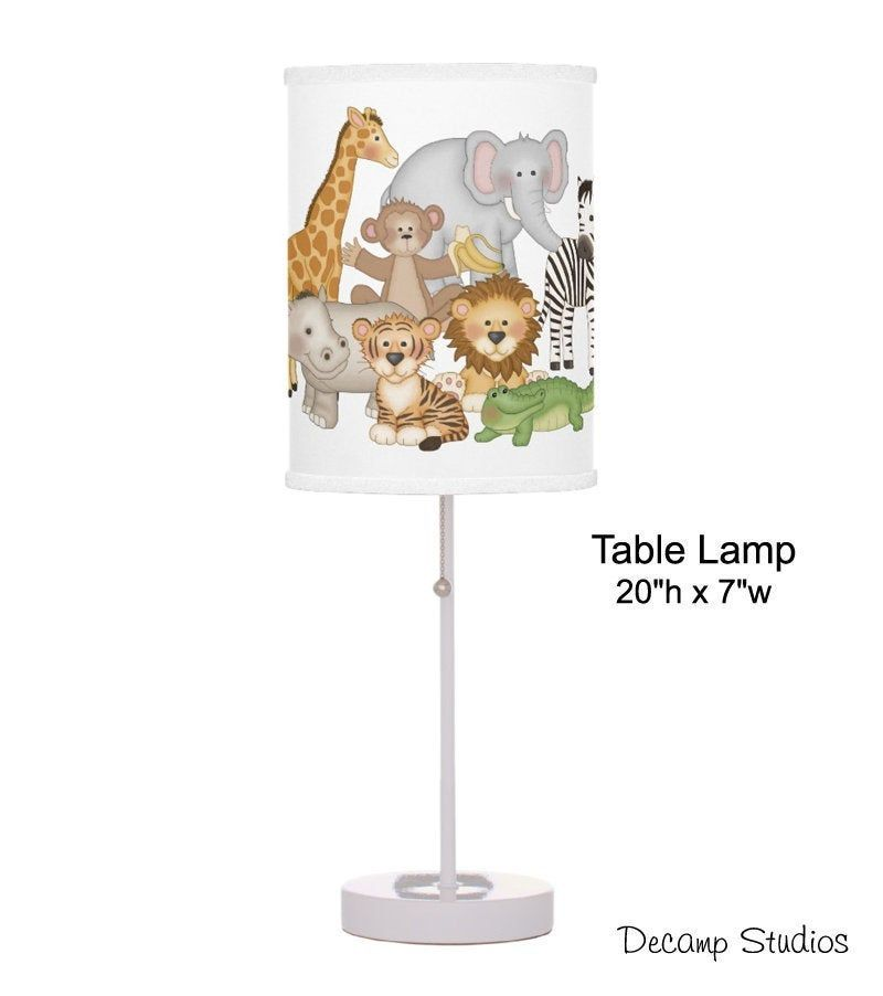 Baby Nursery Lamp Safari Jungle Animals Boy Table Night Light Kids Desk Room