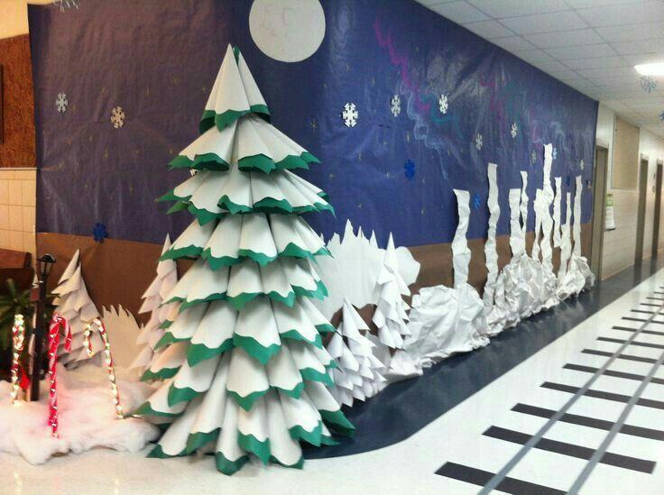 Christmas decor winter wonderland decorations door school hallway decoration noel also pin by catherine cline on classroom pinterest rh