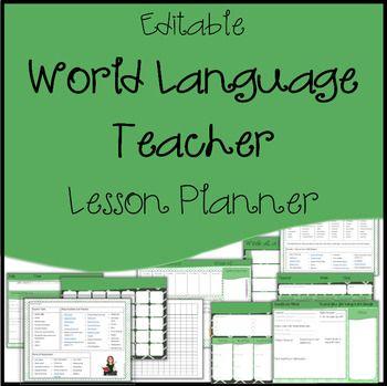 Editable Lesson Plan Template, Calendar / Agenda  World Language