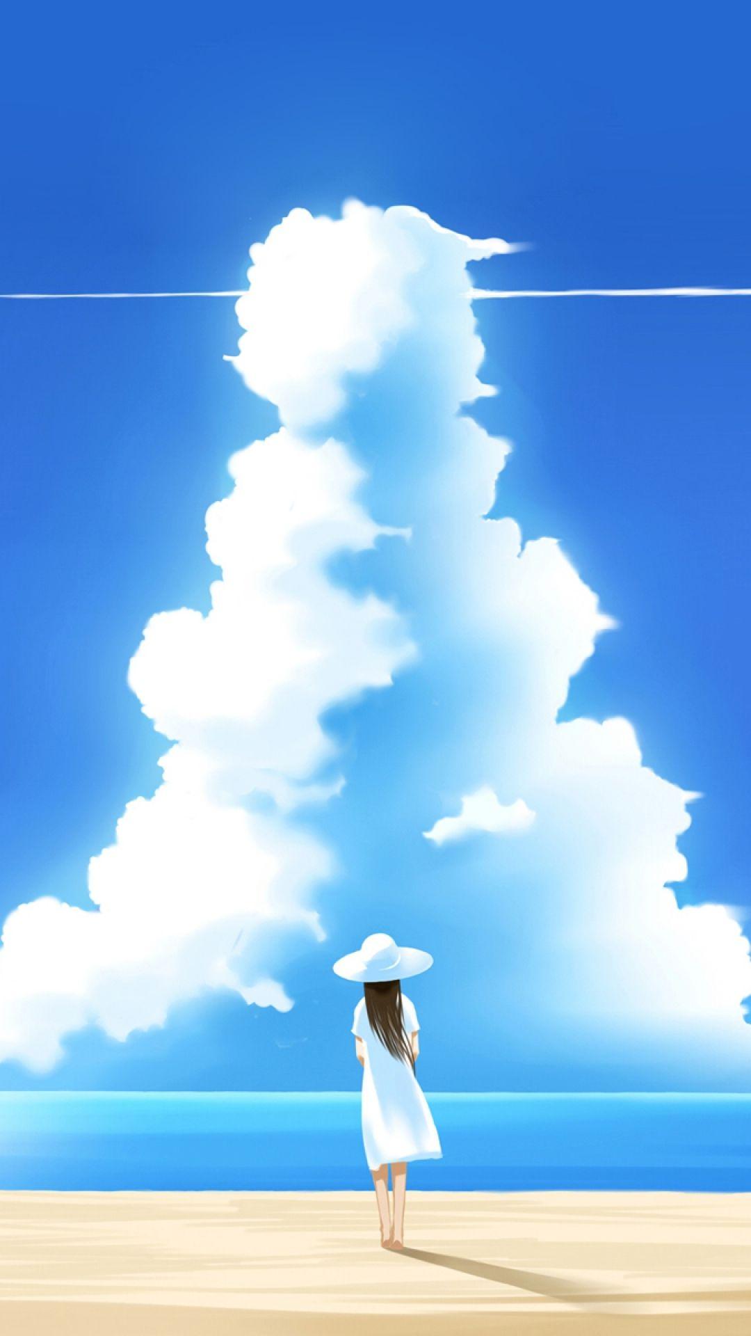 イラスト ビーチの女の子 Iphone11 スマホ壁紙 待受画像ギャラリー アニメの風景 イラスト ノスタルジック 画像