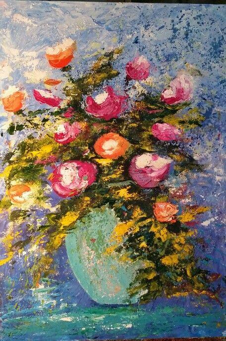 Jarrón con flores acrilico