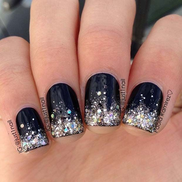 Black And Silver Glitter Nail Art Design For Short Nails