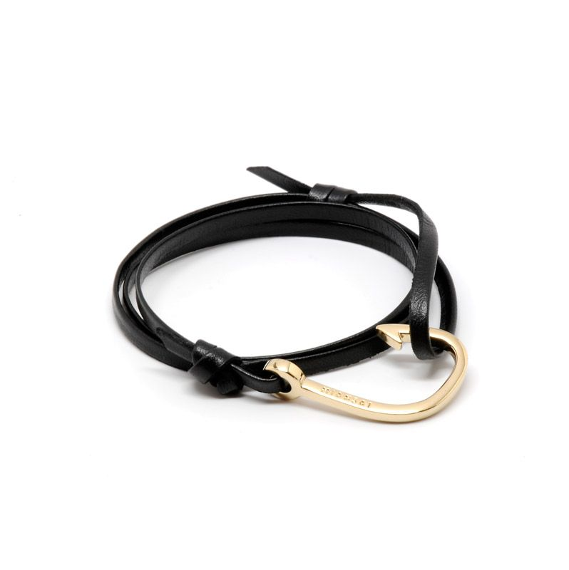 Gold Hook on Black Leather by Miansai