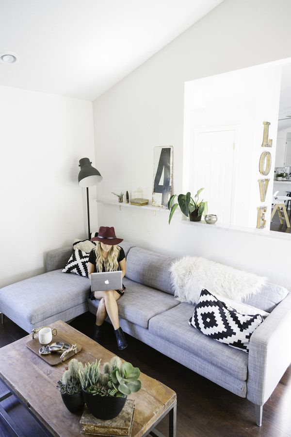 Home Tour: Amber Thrane Of Dulcet Creative | Grey Couch + Wood Coffee Table