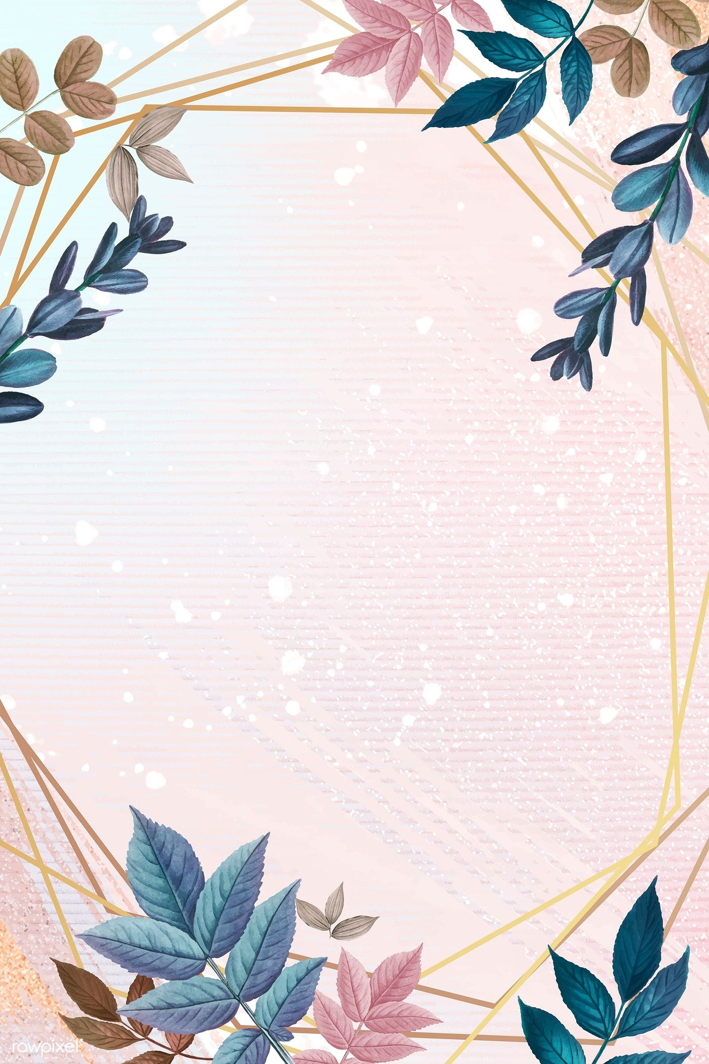 Download Premium Vector Of Blank Golden Heptagon Frame Decorated With Flower Background Wallpaper Flower Backgrounds Floral Poster