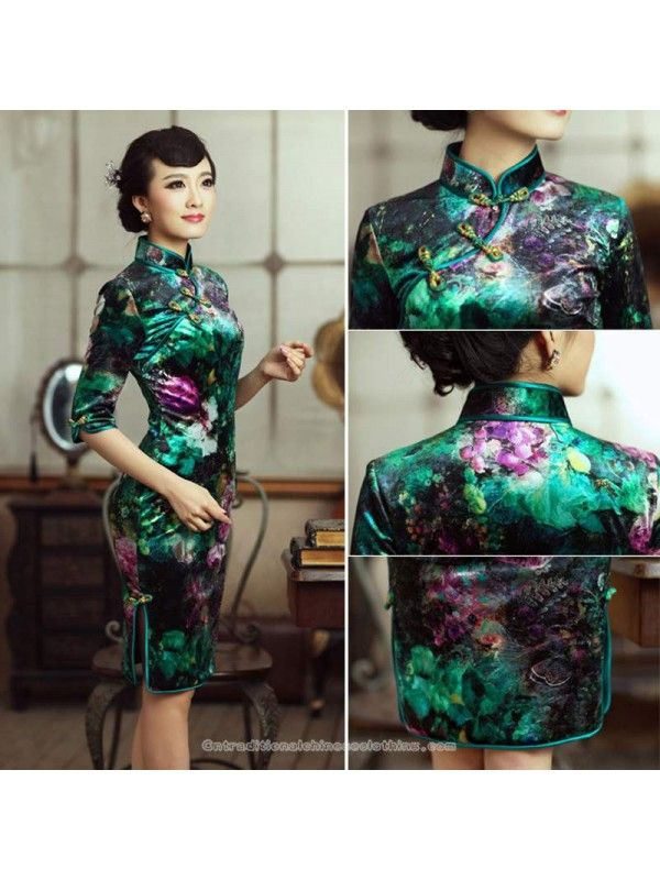 abbef69cd50cd traditional chinese clothing traditional chinese dress Half sleeve short  green velvet floral vintage cheongsam Qipao