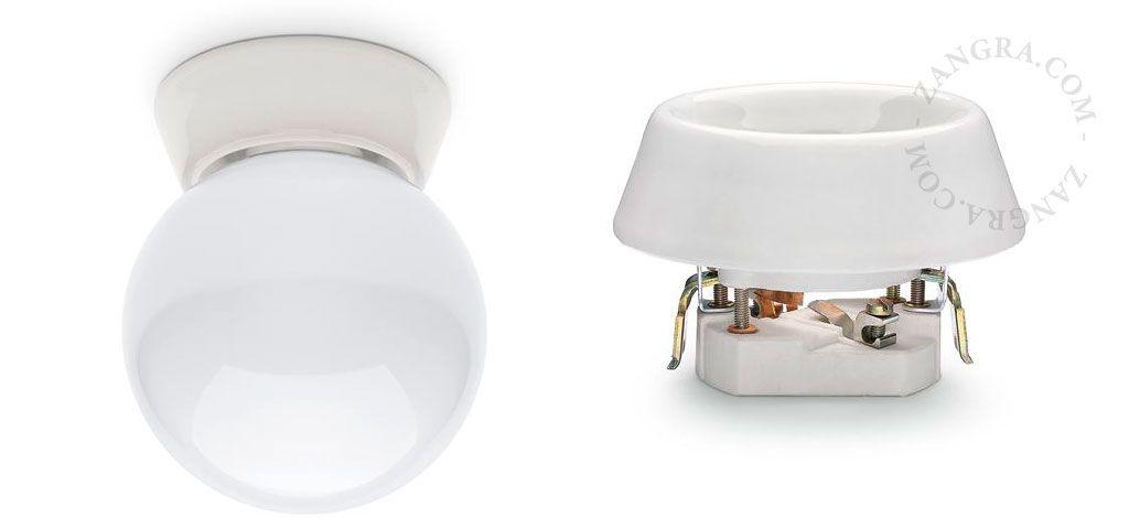 Flush Wall Mounting Base Porcelain Lampholder Porcelain Lighting