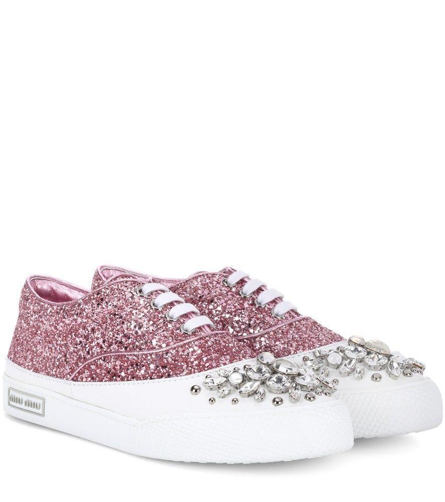 Miu Miu Embellished Glitter Sneakers sale footlocker finishline 2014 new online oacfVeh
