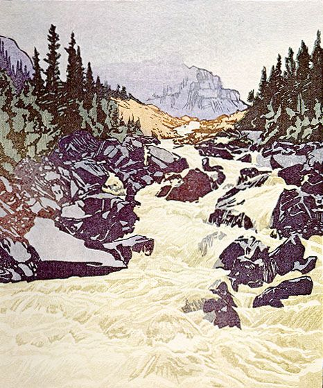 Above Lake Louise, Alberta 1945 Watercolor woodcut on paper, edition 200