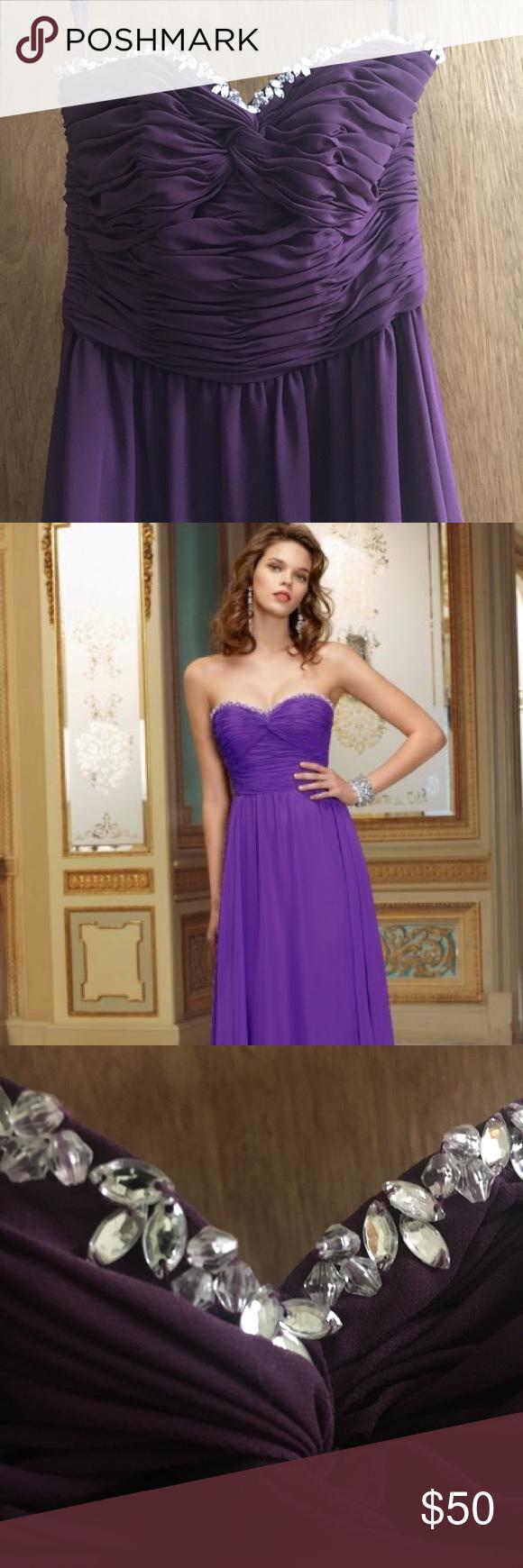 Strapless purple beaded bridesmaid dress size 2