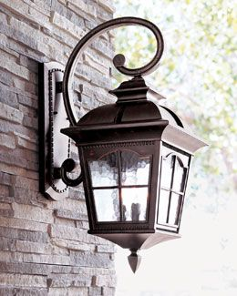 Outdoor Lights H416l Colonial Three Light Wall Lantern Horchow