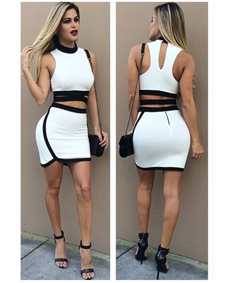 3276738474 Summer Style Women Two Piece Outfits Sexy Club Dress 2015 Crop Top Mini  Midi Party 2 Piece Bandage Dress Cut Out Bodycon Dress