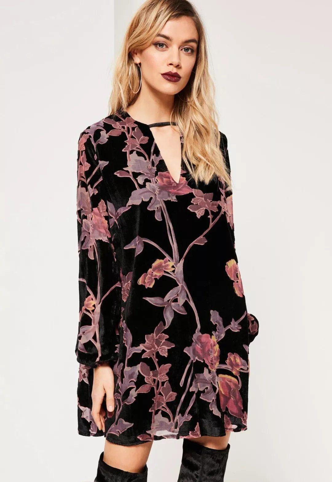 Click to Buy << 2017 popular hot sale velour dress women's printing velvet.  >>