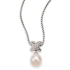 David Yurman X Pearl Pendant Necklace with Diamonds