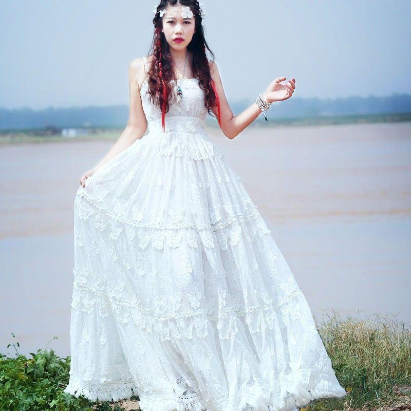 White tassels maxi dress
