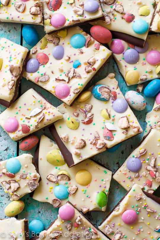 Only a couple ingredients and your favorite Easter candy to make this easy Easter Bunny Bark! Recipe found on sallysbakingaddiction.com