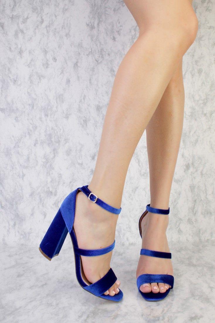 689c2cd04401 Royal Blue Single Sole Chunky Heel Open Toe Velvet in 2019