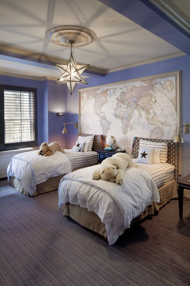 kids room | map | twin beds